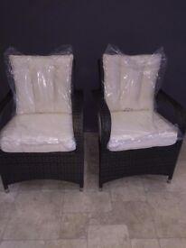 2 Seat Armchair Glass Table Outdoor Rattan Garden Furniture