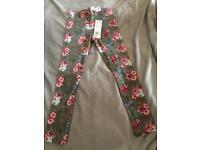 Flower print girls leggings