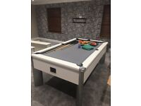 Pool/Snooker table . Immaculate Condition.Bespoke grey cloth . 4ftx7ft.