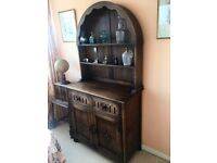 Vintage antique sideboard dresser hutch oak