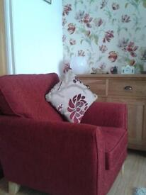 Fabric sofa & two armchairs