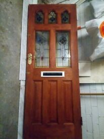 "Wooden front door with stained glass panels, 78"" 30"" 2"""