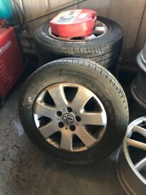 Standard VW t5 transporter wheels with good tyres.