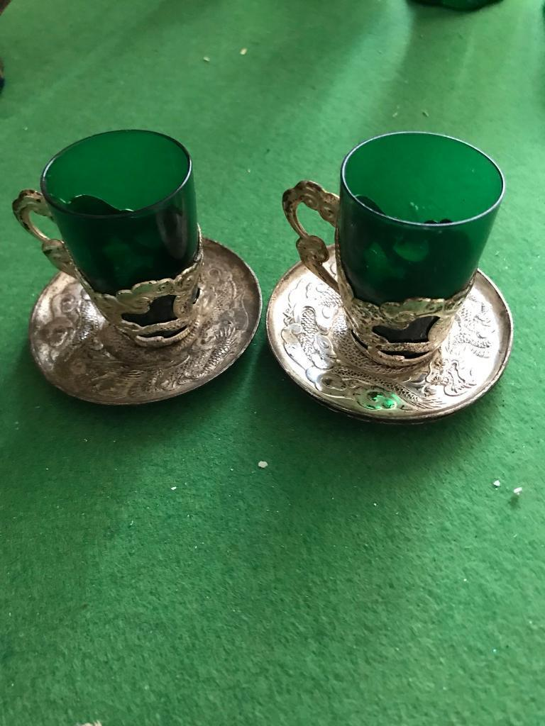 Oriental green glass tea cups