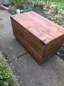 Wooden Garden Storage Box ,on Wheels