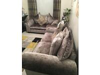 Crushed velvet suite and large footstool