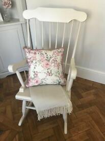 Shabby Chic Painted Rocking Chair - Grey