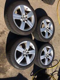 "17"" Genuine Audi TT Alloy Wheels & Tyres 225/50R17 5x112 A4 A5 A6 Transporter T4"
