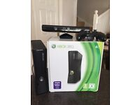 Xbox 360 including x box Kinect and 5 games