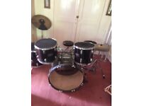 Full drum kit - includes drumsticks and learners books