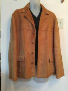 MENS Vintage L 42 44 Deerskin Leather Jacket Made in Canada Supersoft Retro 1970s Fall Autumn Coat