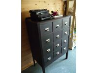 REFURBISHED OAK CHEST OF DRAWERS - FAUX APOTHERCARY CHEST - LIBRARY CABINET - SHABBY CHIC