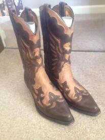 Loblan leather cowboy boots womens