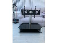 Black Glass and Chrome effect TV stand