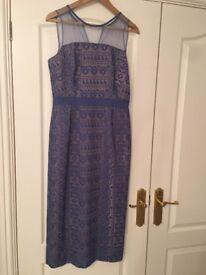 Blue column dress from Warehouse