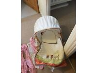 Mamas and Papas Moses basket , with blanket and fitted sheets