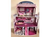 Tall floor standing dolls house barbie with lights wooden free