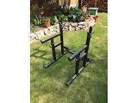 Weights bench-squat-dip rack-spotter bars