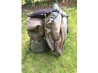 Fox flatlined bedchair and spare bag.