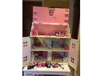 Dolls House - ELC Rosebud Cottage dolls house in good condition with lots of extras