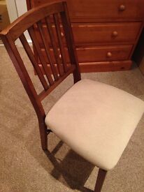 4 Upholstered, wooden, quality fold away chairs