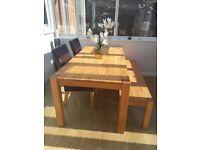Oak dining table, oak bench and 2 oak chairs