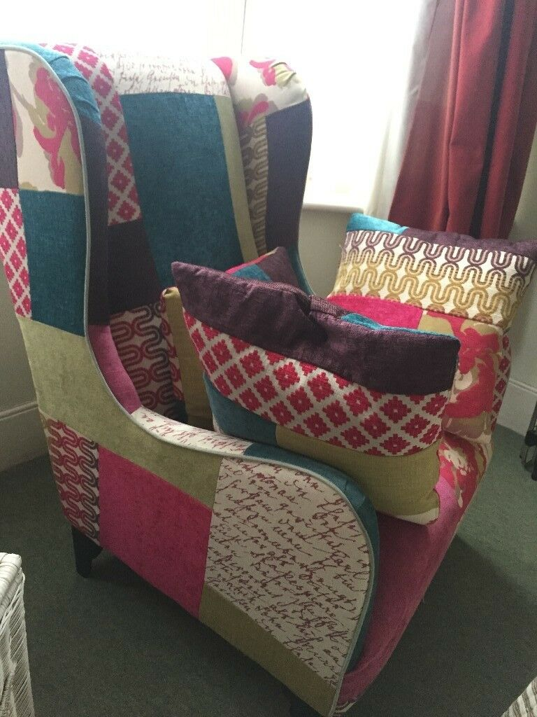 DFS HIGH BACK WING ARMCHAIR plus TWO matching scatter ...