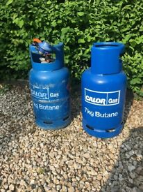 Calor Gas Butane Bottles..2 @7kgs. 1 about half full.