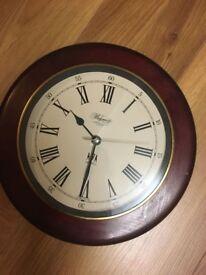 Brown, mahogany, brand new living room clock. (Quartz)