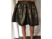 Top Shop Golden Ladies Skirt Size 12