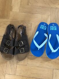 NEW Boys brown strap sandals and blue flipflops