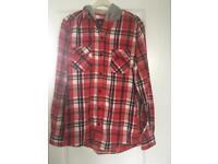 Men's Topman hooded check shirt size XS