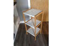 White Wood & Bamboo 3 Tier Shelf for Bathroom Kitchen Storage
