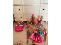 Barbie dolls, car, bicycle and pets