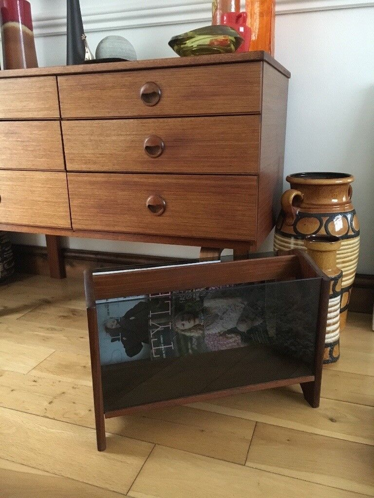 Mid century vintage teak and glass magazine rack