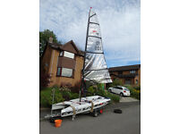 Laser Vortex sailing dinghy as new with combi trailer and covers