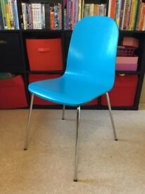 Two Blue Teal Ikea Wood And Steel Dining Kitchen Chairs