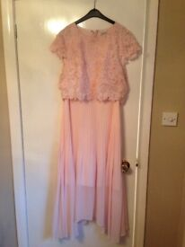 Coast pink dress. Embroidered top with pleated skirt. Worn one to a wedding. Size 16.