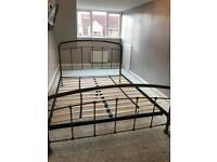Next brushed aluminium metal bed frame