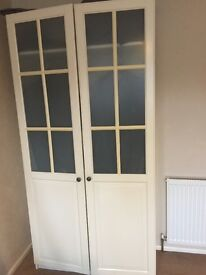 Double Wardrobe Cream / White colour with drawers inside