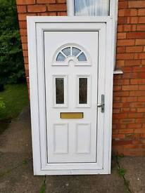 Wide UPVC White Front Door with spacers