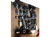Classic vintage cameras Canon, Pentax, Minolta, lens lenses flashes collection