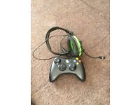 Xbox 360, 4 GB, slim, black with Kinect, one controller, headset and game, all in original boxes