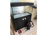 Large fish tank, cabinet and external filter