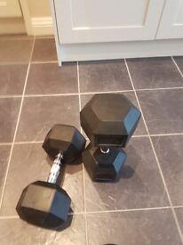 2x22kg and 2x25kg dumbells £50 for 22kg £60 for 25kg