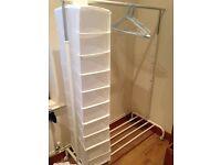 White Clothes Rack + Organizer