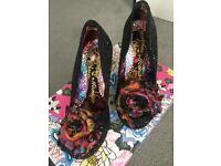 Black sparkly irregular choice shoes (size 4)