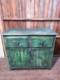 Old Hungarian painted pine cupboard vintage