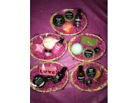 Lush gift basket sets contain 4 items wicker basket cellophane wrapped