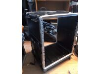 SKU 12u flight case on trolley casters